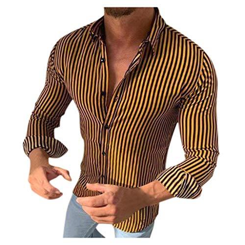[해외]Mens Button Down Shirts Fashion Vertical Striped Long Sleeve Casual Regular Fit Blouse Tops / Mens Button Down Shirts Fashion Vertical Striped Long Sleeve Casual Regular Fit Blouse Tops Yellow
