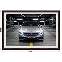 "Mercedes-Benz S63 (C217) AMG Coupé UK Version (2014) Framed Car Art Poster Print Silver Front Static View in Dark Walnut Frame, 1"" Gray Simulated Mat 20""x30"""