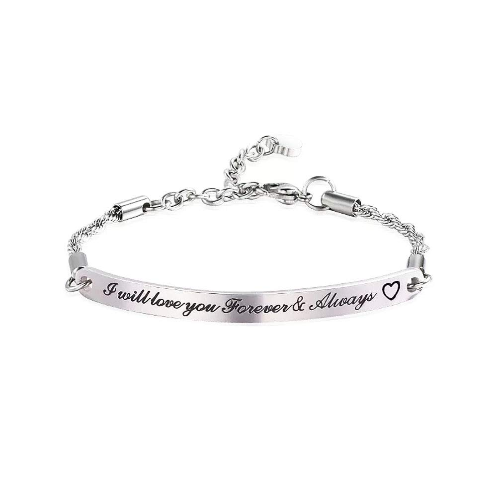 Huiuy Personalized Bar Bracelet Jewelry Custom Engraved Bracelet Gifts for Women Girls Wife -I Will Love You Forever & Always