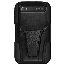 Amzer Double Layer Hybrid Case with Kickstand for BlackBerry Classic - Retail Packaging - Black