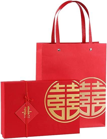 Amosfun - 2 cajas de caramelos chinos rojos para regalo de boda ...