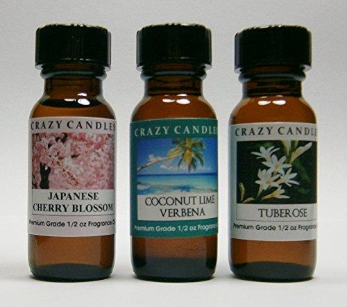 3 Bottles Set, 1 Japanese Cherry Blossom, 1 Coconut Lime Verbena, 1 Tuberose 1/2 Fl Oz Each (15ml) Premium Grade Scented Fragrance Oils By Crazy (Verbena Blossom)