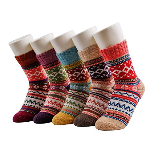 JOYEBUY 5 Pack Winter Fall Women Socks Vintage Style Cotton Knitting Wool Warm Crew Socks (One Size, Style - Fall Style Women