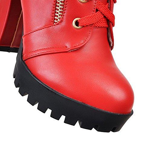 AgooLar Damen PU Niedrig-Spitze Gemischte Farbe Schnüren Hoher Absatz Stiefel Rot