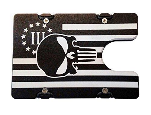 HMC Billet American Flag with Punisher RFID Protection Aluminum Wallet/Credit Card Holder - Black