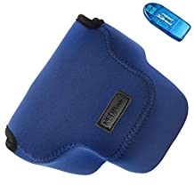 First2savvv QSL-RX10A-03G10 blue Neoprene Camera Case Bag cover with shoulder strap for Sony Cyber SHOT DSC HX300 H300 + SD CARD READER
