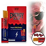 Energy Jelly Caffeine Sticks - Edible Gel Chews, Squeeze Tubes with, Organic Agave, Taurine for Energy - (10 Count)