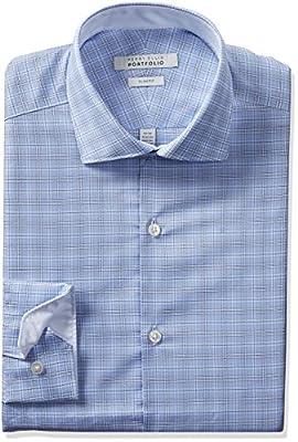 Perry Ellis Portfolio Men's Slim Fit Performance Cloud Plaid Dress Shirt, Blue