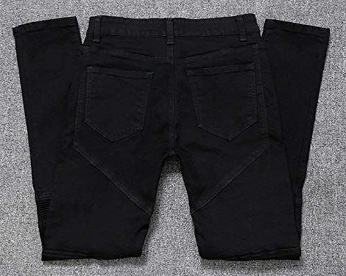 Vaqueros Moto Vaqueros Pantalones De Slim De Skinny Los Biker Pantalones Pantalones Ripped Destroyed Hombres Casuales Rectos Vaqueros Mezclilla Fit Negro Pantalones Pantalones nwPqOY6H