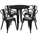 30'' Round Black Metal Indoor-Outdoor Restaurant Table Set with 4 Arm Chairs