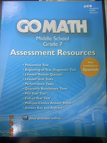 Go Math!: Assessment Resource with Answers Grade 7