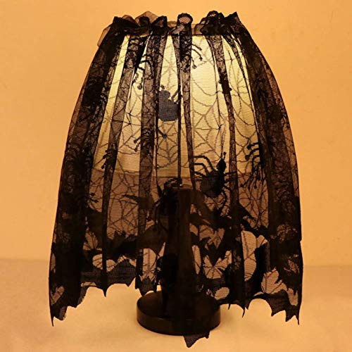 JunMu Happy Halloween 20 x 60 inch Lamp Shade Lampshades Cover Topper Scarf Spider Web Black Lace Ribbon Decoration]()