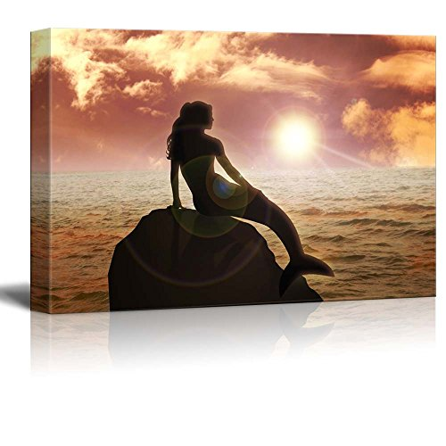 wall26 – Canvas Prints Wall Art – A Mermaid Sitting on The Rock During Sunset Modern Wall Decor Home Decoration Stretched Gallery Canvas Wrap Giclee Print. Ready to Hang – 32 x 48