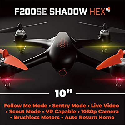 Force1 GPS Drones with Camera - F200SE Shadow Hex GPS Follow Me Drone, 1080p HD WiFi Camera Drone, FPV Drone, Long Range Drone w/VR Capability