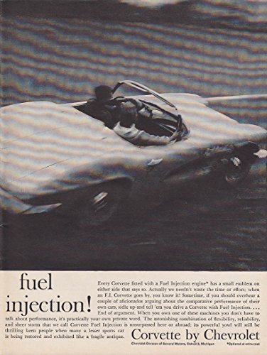 Fuel Injection - a small emblem on either side Chevrolet Corvette ad 1961 C&D