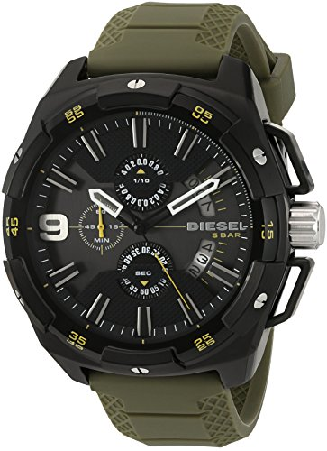 Diesel Men's DZ4396 Heavyweight Black Ip  Green Silicone Watch