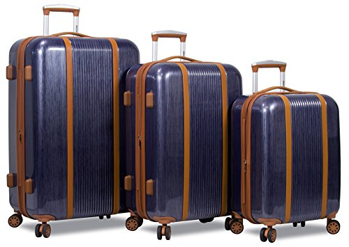 Dejuno Monroe 3-Piece Hardside Spinner TSA Combination Lock Luggage Set-Blue