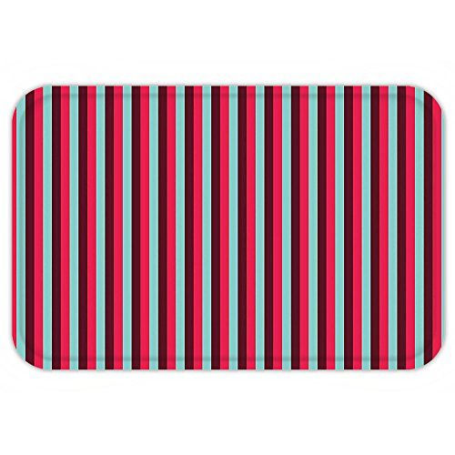 Aztec Hot Water Extractor (VROSELV Custom Door MatNovelty French Cafe Restaurant Tent Inspired Image with StripePrint Hot Pink Sky Blue and Burgundy)