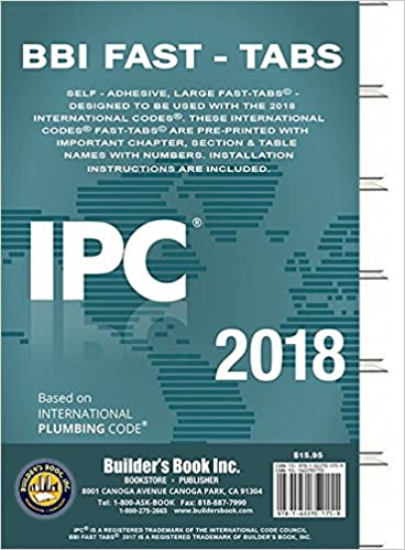 2018 International Plumbing Code (IPC) Fast Tabs: Builders Book Inc: 9781622701759: Amazon.com: Books