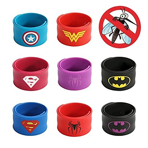 Natural Slap Mosquito Repellent Bracelets Superhero Style, Boys & Girls Birthday Party Supplies Favors, The Stylish indoor & outdoor Protection for Kids by MosquitoStation. (Superwoman Baby Costumes)