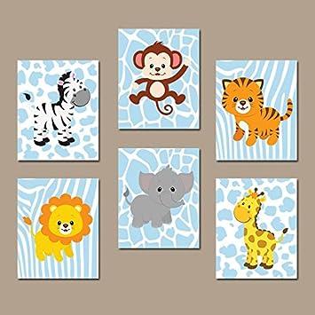 Amazoncom Baby Boy Safari Nursery Wall Art Jungle Animals Decor