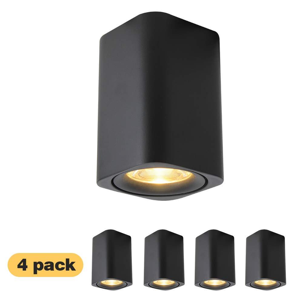 4 Packs Black Square LED Ceiling Spotlight Flush Mount Downlight 7W 3000K Warm-White Aluminum for Hallway Corridor Gallery Kitchen Living Room 001B3K7Wx4 Aisilan Lighting