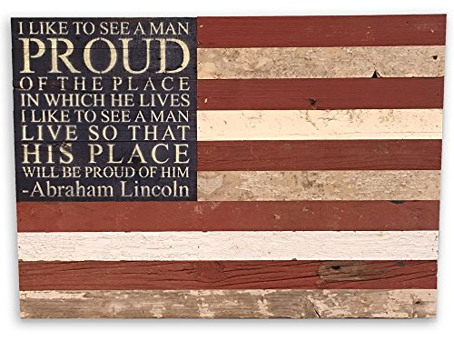 Second Nature By Hand 28x20 American Flag Wood Sign Reclaimed, Medium, Natural Reclaimed