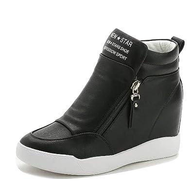 dcb1b5d213d LIURUIJIA Women Hidden Wedges Ankle Boots Fashion Sneaker High Top Flats  Platform Casual Black 1-