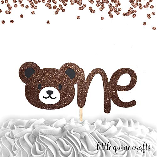 1 pc ONE teddy bear cake topper first birthday boy girl cake smash -