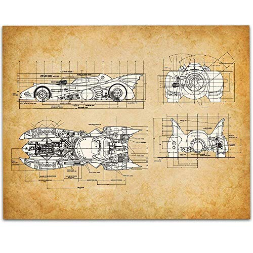 1989 Batmobile Patent - 11x14 Unframed Patent Print - Great Man Cave Decor or Gift Under $15 for Comics and Batman Fans