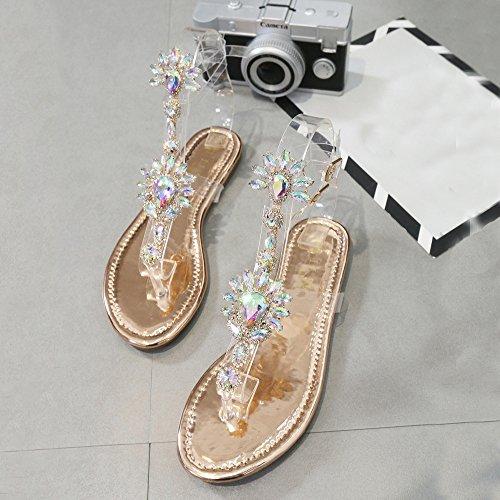 Kaiki Frauen Strand Perlen Strass Flip Flops Mode Bling Hausschuhe Sommer Damen Flache Kristall Sandalen Roségold