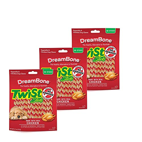 DreamBone Twist Sticks, Rawhide-Free Chews for Dogs, with Real Chicken ((3 Pack) 50-Count) For Sale