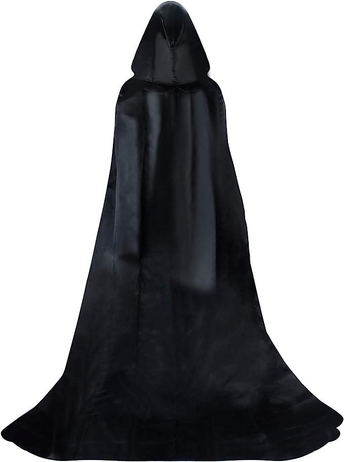 Proumhang Larga Capa Negra con Capucha Medieval Vampiro Traje de ...