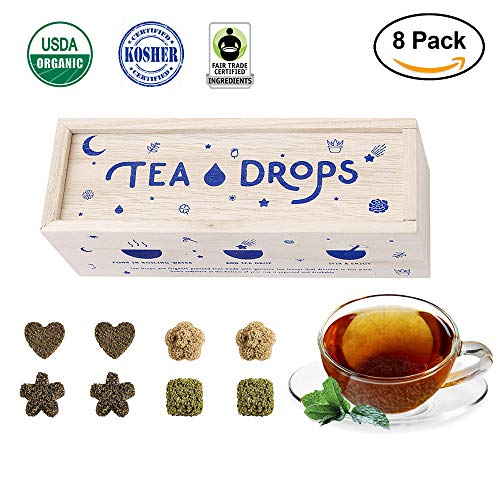 Sweetened Organic Loose Leaf Tea | Standard Herbal Sampler Assortment Box | Instant Pressed Teas Eliminate the Need for Teabags and Sweetener | Tea Lovers Gift | Delicious Hot or Iced | By Tea Drops