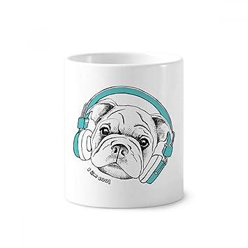 """Soporte para cepillo de dientes de cerámica, diseño de perro con texto en inglés """""""