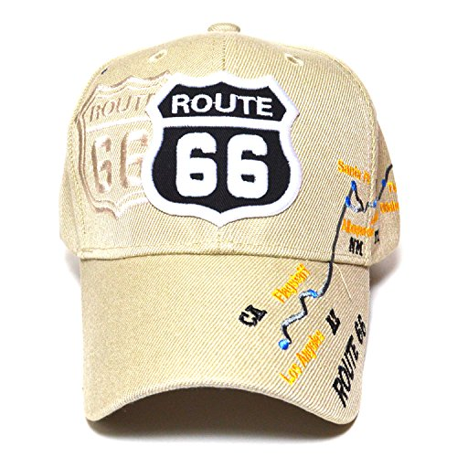 Route 66 Road Map Embroidered Curved Visor Hat Durable Golf Baseball Adjustable Fashion Cap (Beige) (Route 66 Visor)