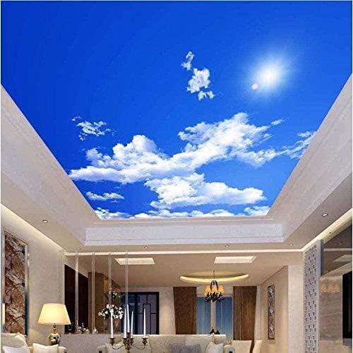 Ljunj 3D壁画青空白い雲サンシャイン天井ゼニス壁画カスタム3D写真の壁紙リビングルーム天井装飾壁画壁紙-200X140Cm