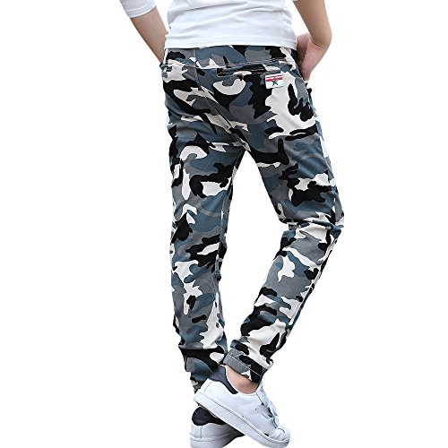 CNMUDONSI Big and Teenager Boys Pants Cotton Long Casual Camouflage Spring Autumn Clothing (14, M735-Blue)