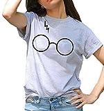 Women Harry Potter Glasses Cute Print Short Sleeve Crew Neck T-shirts Grey L