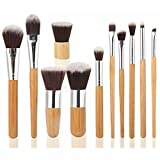 ArRord 11pcs Professional Makeup Cosmetic Brush Set Eyebrow Eyeliner Foundation Powder Bamboo Brush wih Free Bag