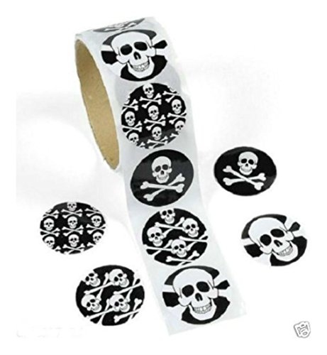 1 Roll PIRATE Halloween Party Favors SKULL CROSSBONES Jolly Roger STICKERS