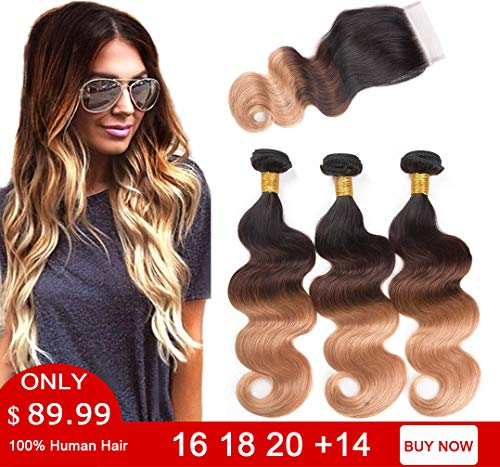 Ombre Bundles with Closure Body Wave 3 Bundles 10A Brazilian Virgin Human Hair Bundles with 4X4 Lace Closure Free Part (16 18 20 with 14 Inch Closure, 1B#/4#/27#) (Best Colored Weave Hair)