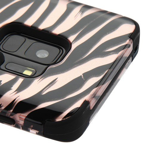 (Kaleidio Case for Samsung Galaxy S9 G960 [TUFF] Rugged Armor 3-Piece [Shock/Impact Protection] Dual Layer Hybrid Rubber Cover [Includes a Overbrawn Prying Tool] [Zebra Rose Gold Skin])