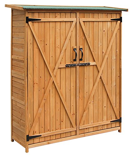 Merax Wooden Outdoor Garden Shed with Fir Wood Medium Storage Shed Lockable Storage Unit with Double Doors, Natural Color (Outdoor Wood Storage Cabinet)