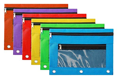 Pencil Case Pencil Pouch Zipper with 3 Ring and Double Pocket and Mesh Window(Colorful,6 Pack) ()