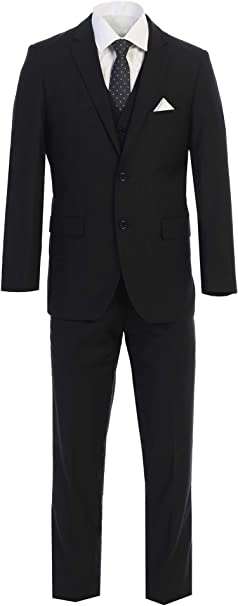 King Formal Wear Elegant Mens Black Two Button Three Piece Suit
