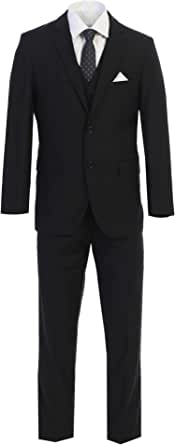 King Formal Wear Elegant Men's Black Two Button Three Piece Suit