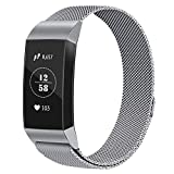 Vancle Bands Compatible with Fitbit Charge 3, Metal Replacement Bands Wristband Bracelet Straps with Magnetic Closure Clasp for Fitbit Charge 3 Fitness Activity Tracker Women Men Small Large Size