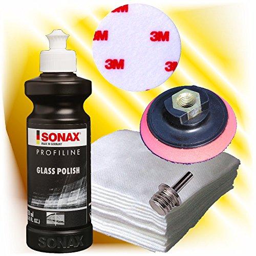 Sonax Profiline Glaspolitur Set +Polierteller + Vlies + Adpater + 3M Polierfilz hai-tecs