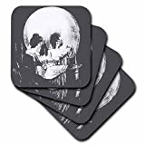 Taiche - Acrylic Painting - Skulls - All Is Vanity - ghost, halloween, optical illusion, paranormal, seasonal, silhouette, skeleton - set of 8 Ceramic Tile Coasters (cst_46711_4)